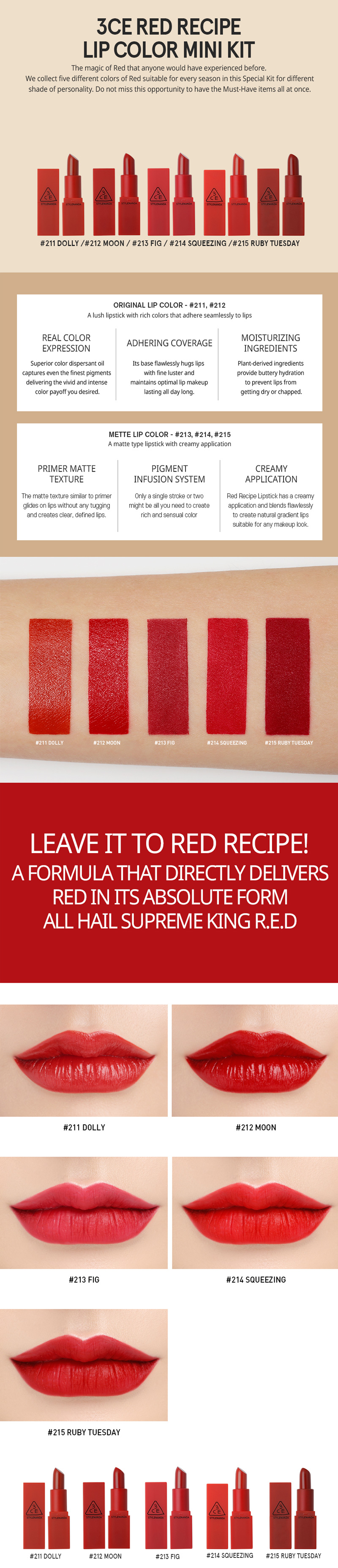 3ce Red Recipe Lip Color Mini Kit Korean Makeup Lipstick 7b442fc70179c8d462468a5f04ecb14f 1497494