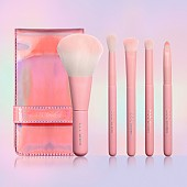 [CORINGCO] Pink Hologram Mini Make-Up Brush Set 5P